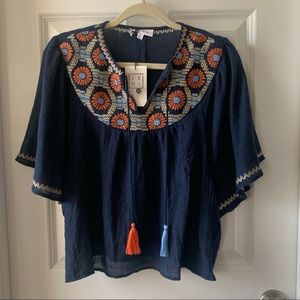 THML navy embroidered bib angel sleeve top